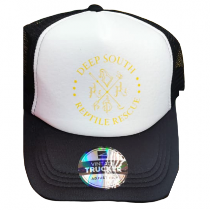 DSRR trucker cap black and white with yellow logo